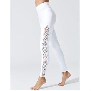 CARBON 38 RARE HIGH WAIST WHITE LEGGINGS MACRAME M